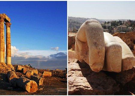 La colossale mano di Ercole ad Amman in Giordania